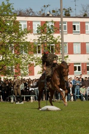 Pokaz wyszkolenia kawalerzysty w ZSŁ w Poznaniu